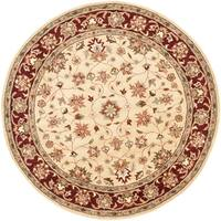 Safavieh Handmade Heritage Timeless Traditional Ivory/ Red Wool Rug (6' Round)