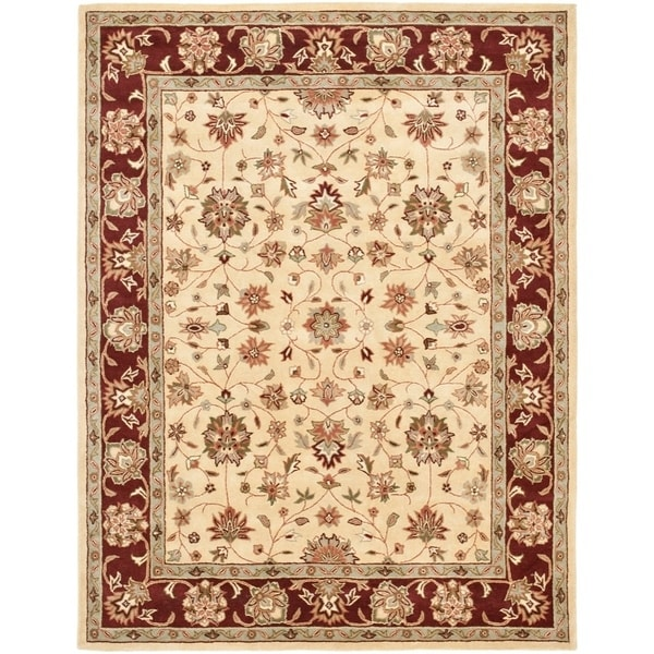 "Safavieh Handmade Heritage Timeless Traditional Ivory/ Red Wool Rug - 7'6"" x 9'6"""