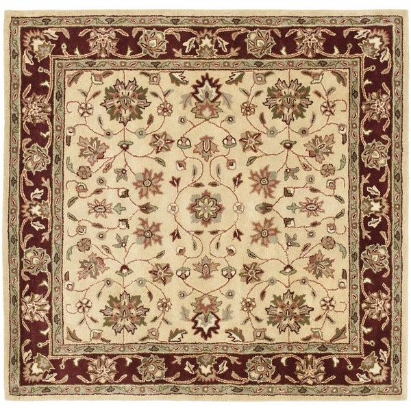 Safavieh Handmade Heritage Timeless Traditional Ivory/ Red Wool Rug (6' Square)