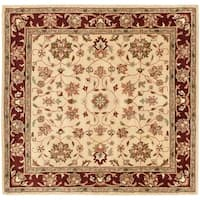 Safavieh Handmade Heritage Timeless Traditional Ivory/ Red Wool Rug - 6' x 6' Square