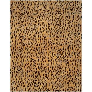 "Safavieh Handmade Soho Leopard Skin Beige New Zealand Wool Rug - 8'-3"" x 11'"