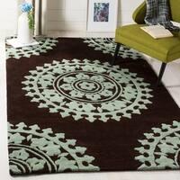 Safavieh Handmade Soho Chrono Brown/ Teal New Zealand Wool Rug - 5' x 8'