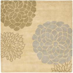 Safavieh Handmade Soho Bontanical Beige New Zealand Wool Rug (6' Square)