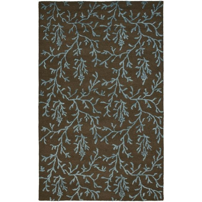 Safavieh Handmade Soho Ferns Brown New Zealand Wool Rug - 7'6 x 9'6