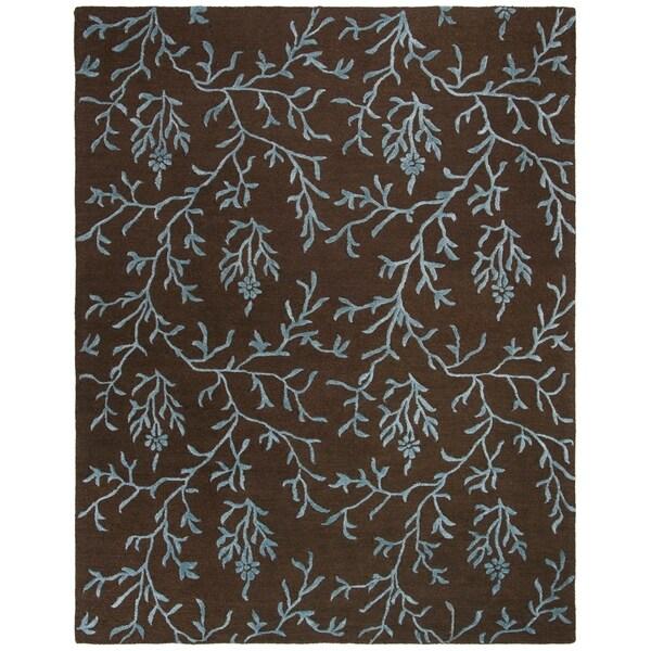 "Safavieh Handmade Soho Ferns Brown New Zealand Wool Rug - 7'-6"" x 9'-6"""