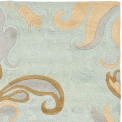 Safavieh Handmade Soho Passage Light Blue New Zealand Wool Rug (6' Square) - Thumbnail 1