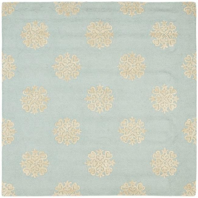 Safavieh Handmade Soho Medallion Light Blue N. Z. Wool Rug - 6' x 6' Square