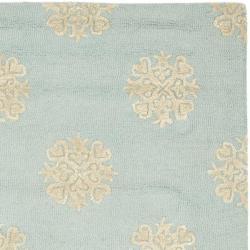 Safavieh Handmade Soho Medallion Light Blue N. Z. Wool Rug (6' Square) - Thumbnail 1