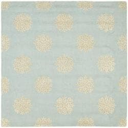 Safavieh Handmade Soho Medallion Light Blue N. Z. Wool Rug (6' Square)