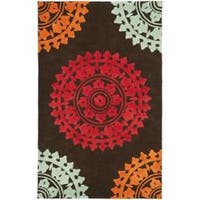 Safavieh Handmade Soho Chrono Brown/ Multi N. Z. Wool Rug - 3'6 x 5'6