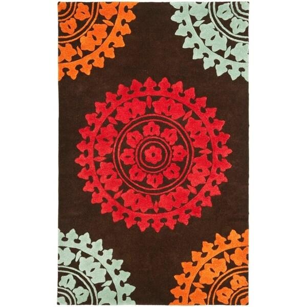 "Safavieh Handmade Soho Chrono Brown/ Multi N. Z. Wool Rug - 7'6"" x 9'6"""