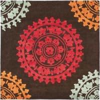 Safavieh Handmade Soho Chrono Brown/ Multi N. Z. Wool Rug - 6' x 6' Square