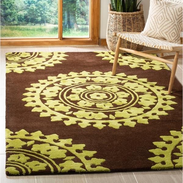 "Safavieh Handmade Soho Chrono Brown/ Green N. Z. Wool Rug - 7'6"" x 9'6"""