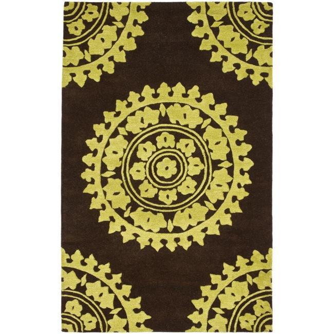 Safavieh Handmade Soho Chrono Brown/ Green N. Z. Wool Rug - 3'6' x 5'6'