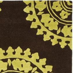Safavieh Handmade Soho Chrono Brown/ Green N. Z. Wool Rug (3'6 x 5'6') - Thumbnail 1