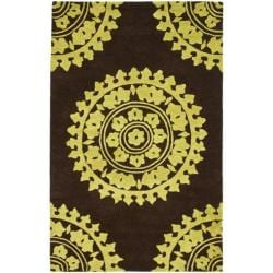 Safavieh Handmade Soho Chrono Brown/ Green N. Z. Wool Rug (3'6 x 5'6')