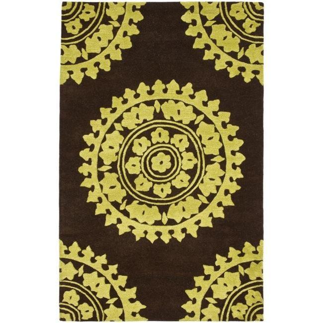 Safavieh Handmade Soho Chrono Brown/ Green New Zealand Wool Rug (5'x 8')