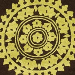 Safavieh Handmade Soho Chrono Brown/ Green New Zealand Wool Rug (5'x 8') - Thumbnail 2