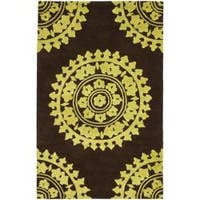 Safavieh Handmade Soho Chrono Brown/ Green New Zealand Wool Rug - 5' x 8'