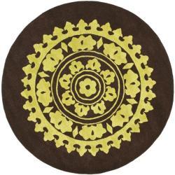 Safavieh Handmade Soho Chrono Brown/ Green New Zealand Wool Rug (6' Round)