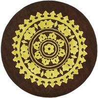 Safavieh Handmade Soho Chrono Brown/ Green New Zealand Wool Rug - 6' x 6' Round