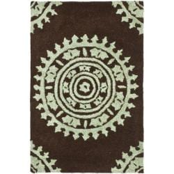 Safavieh Handmade Soho Chrono Brown/ Teal New Zealand Wool Rug (2' x 3')