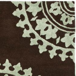 Safavieh Handmade Soho Chrono Brown/ Teal New Zealand Wool Rug (7'6 x 9'6)
