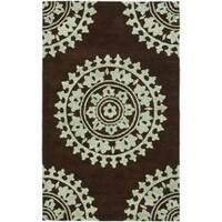 Safavieh Handmade Soho Chrono Brown/ Teal New Zealand Wool Rug - 7'6 x 9'6