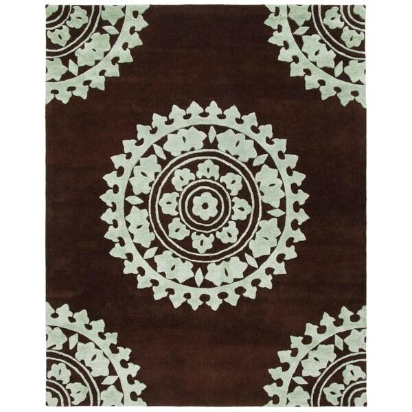 "Safavieh Handmade Soho Chrono Brown/ Teal New Zealand Wool Rug - 7'6"" x 9'6"""