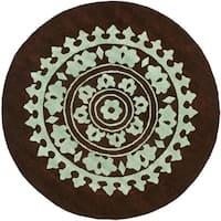 Safavieh Handmade Soho Chrono Brown/ Teal New Zealand Wool Rug - 6' x 6' Round