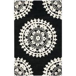 Safavieh Handmade Soho Chrono Black/ Ivory N. Z. Wool Rug (3'6 x 5'6')