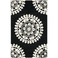 Safavieh Handmade Soho Chrono Black/ Ivory New Zealand Wool Rug - 5' x 8'