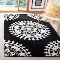 Safavieh Handmade Soho Chrono Black/ Ivory New Zealand Wool Rug - 5' x 8'