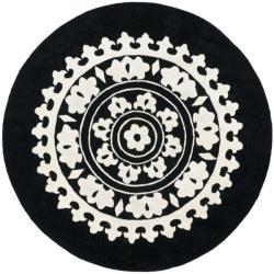 Safavieh Handmade Soho Chrono Black/ Ivory New Zealand Wool Rug (6' Round)