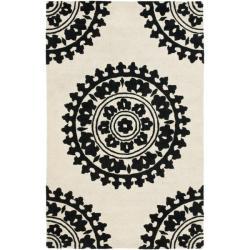 Safavieh Handmade Soho Chrono Ivory/ Black N. Z. Wool Rug (3'6 x 5'6')