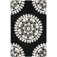 Safavieh Handmade Soho Chrono Black/ Ivory N. Z. Wool Rug - 7'6 x 9'6