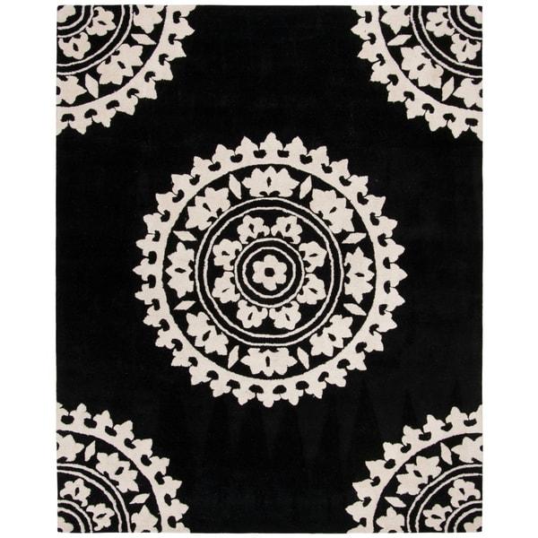"Safavieh Handmade Soho Chrono Black/ Ivory N. Z. Wool Rug - 7'-6"" x 9'-6"""