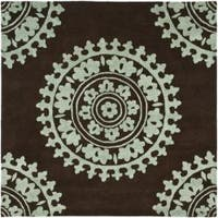 Safavieh Handmade Soho Chrono Brown/ Teal New Zealand Wool Rug - 6'