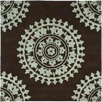 Safavieh Handmade Soho Chrono Brown/ Teal New Zealand Wool Rug - 6' x 6' Square