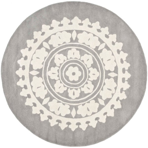 Safavieh Handmade Soho Chrono Grey/ Ivory New Zealand Wool Rug (6' Round)