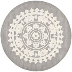 Safavieh Handmade Soho Chrono Grey/ Ivory New Zealand Wool Rug (6' Round)