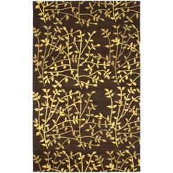 Safavieh Handmade Soho Moments Brown New Zealand Wool Rug - 3'6' x 5'6' - Thumbnail 0