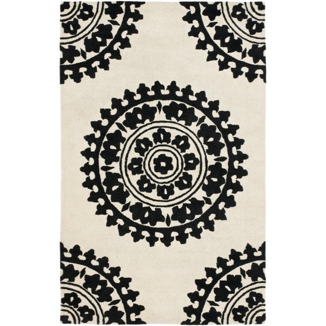 Safavieh Handmade Soho Chrono Ivory/ Black N. Z. Wool Rug - 7'6 x 9'6