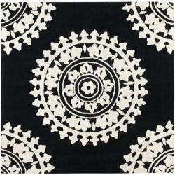 Safavieh Handmade Soho Chrono Black/ Ivory N. Z. Wool Rug (6' Square)