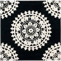Safavieh Handmade Soho Chrono Black/ Ivory N. Z. Wool Rug - 6' x 6' Square
