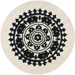Safavieh Handmade Soho Chrono Ivory/ Black New Zealand Wool Rug (6' Round)