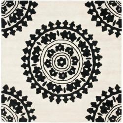 Safavieh Handmade Soho Chrono Ivory/ Black N. Z. Wool Rug - 6' x 6' Square - Thumbnail 0