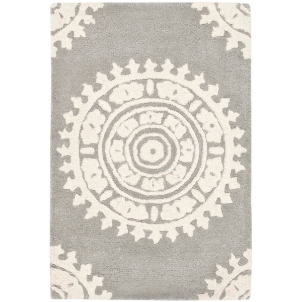 Safavieh Handmade Soho Chrono Grey/ Ivory New Zealand Wool Rug (2' x 3')