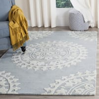 "Safavieh Handmade Soho Chrono Grey/ Ivory New Zealand Wool Rug - 7'6"" x 9'6"""