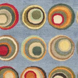 Safavieh Handmade Soho Modern Abstract Blue/ Multi Wool Rug (3' 6 x 5' 6) - Thumbnail 2